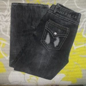 Black Jeans - Mens Relaxed Fit Distressed Jeans 34X30